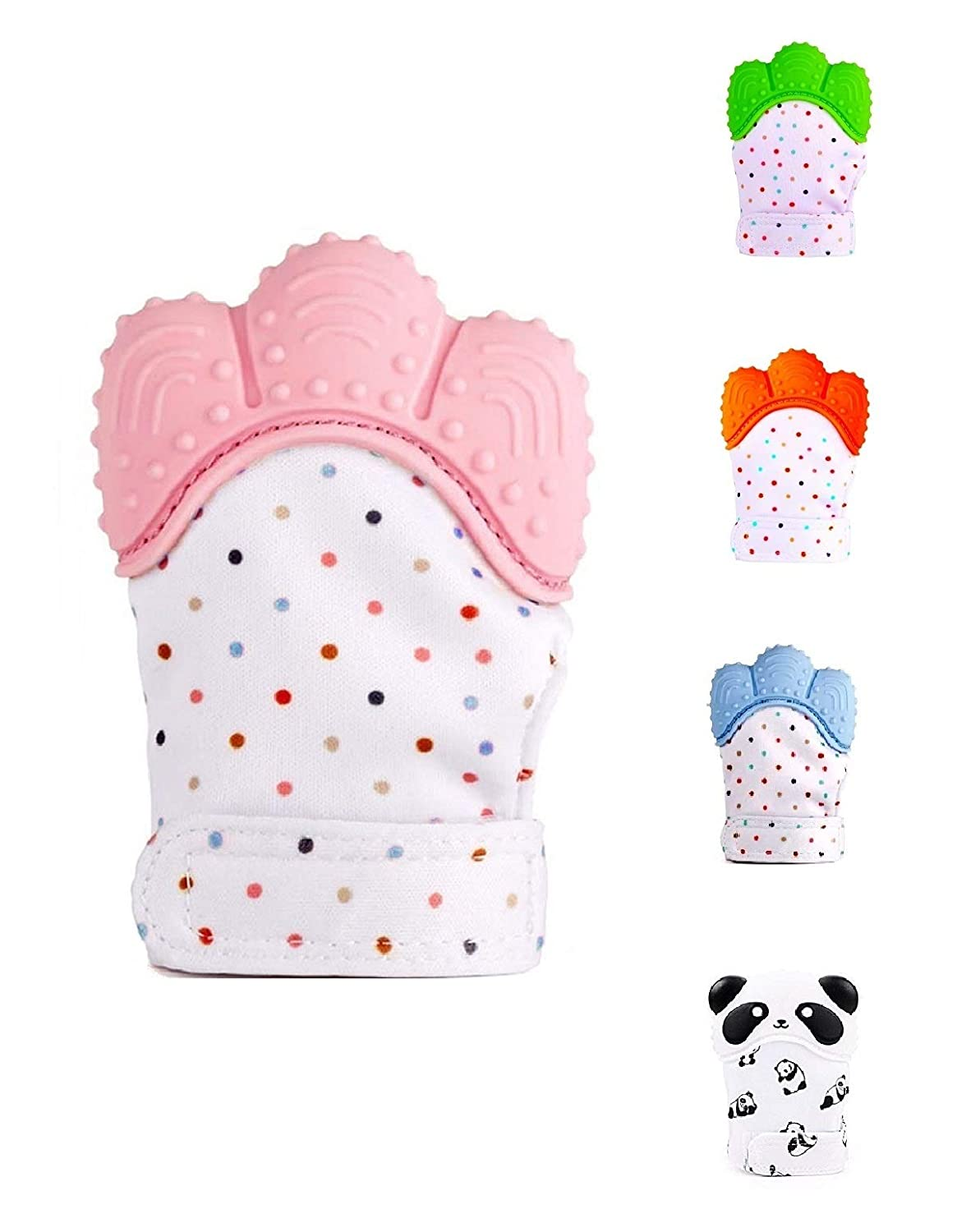 Pink Teething Glove Silicone Teething Glove Hygienic Silicone Teether Mitten for Self-Soothing Pain Relief Protects Babys Hands from Chewing.
