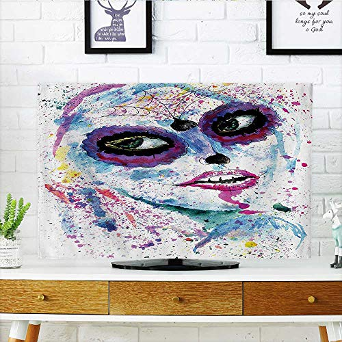 Television Protector Grunge Halloween Lady with Sugar Skull Make Up Creepy Dead Gothic Woman Artsy Television Protector W20 x H40 INCH/TV 40