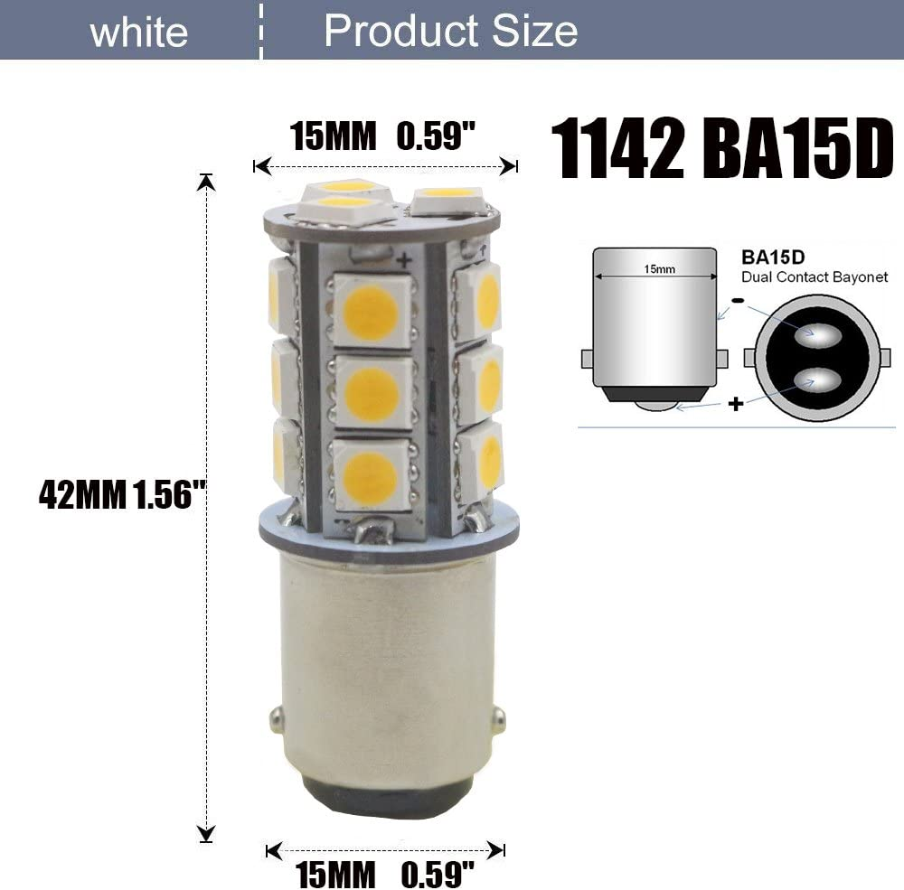 AMAZENAR 12-Pack BA15D 1142 Soft Warm White 3000k LED Light 12V-DC 5050 18 SMD Car Replacement For Interior RV lighting Camper Turn Signal Light Lamps Tail BackUp Bulbs