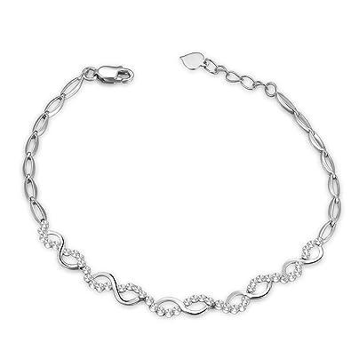infinity anklet. mabelle 14k white gold diamond-cut intercrossing infinity bracelet (6.5\u0026quot;) anklet