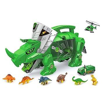 AOLVO Dinosaur Toys, Portátil Dinosaurio Almacenamiento Carrier Integrado Vehículo con 6 Mini Simulación Dinosaurio &
