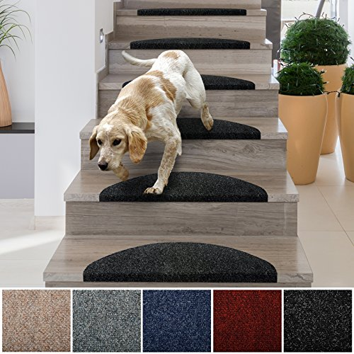 Step Staircase (casa pura Stair Treads | Non-Slip Indoor Stair Protectors | Set of 15 Modern Step Mats for Hard Floor Staircase | Anthracite - 10