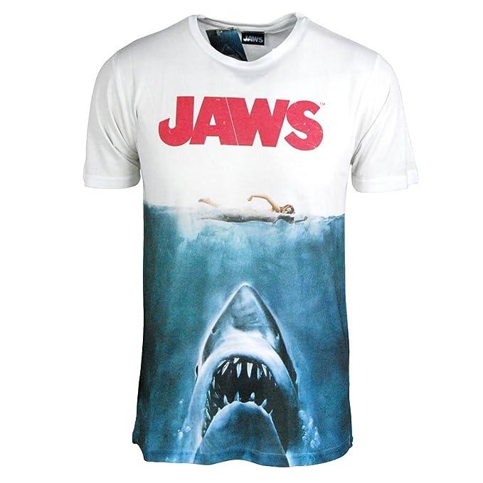 Jaws Película Camiseta - Camisa Para Hombre De La Jaws Tiburón T - Movie Poster La Sublimación Impresión Teeshirt Grand - Thorax 42-44 Pouces Blanc: ...
