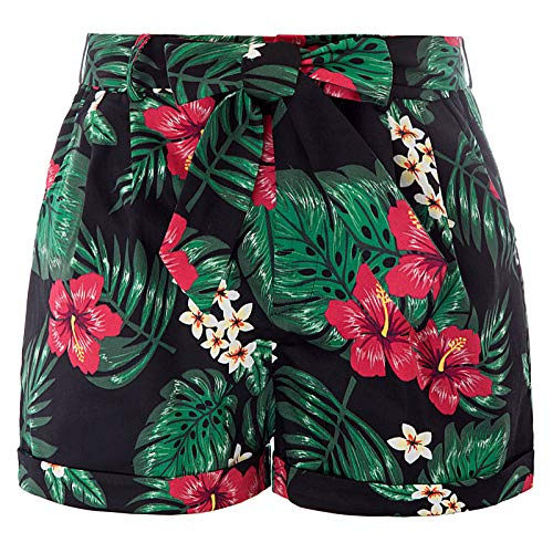 Belle Poque Women's Elastic High Waist Floral Print Shorts, Size S