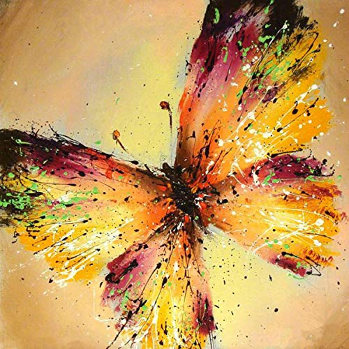 5D Full Drill Diamond Painting Kit, DIY Diamond Rhinestone Painting Kits for Adults and Children Embroidery Arts Craft Home Decor 16 by 16 inch (Butterfly)