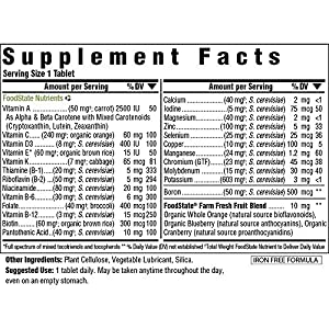 MegaFood - One Daily Iron Free, Multivitamin Support for Immune and Nervous System Health, Energy Production, and Mood with Folate and B Vitamins, Vegetarian, Gluten-Free, Non-GMO, 30 Tablets (FFP)