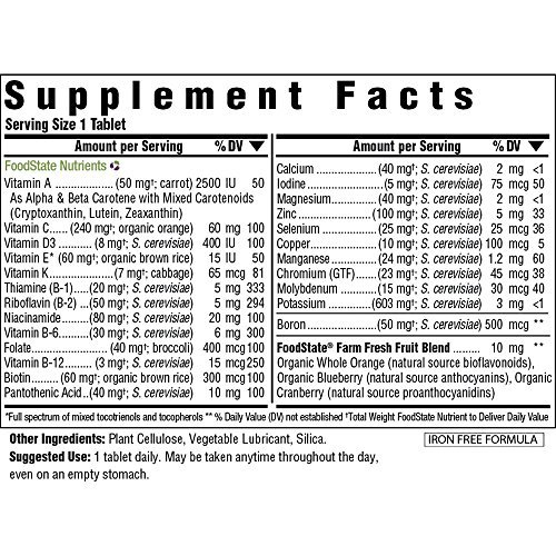 MegaFood - One Iron Free, for System Energy Production, and Folate and Gluten-Free, Non-GMO, 90