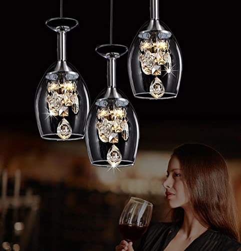 Crystal Wine Glass Pendant Chandelier,Led Restaurant Hanging Lighting fixtures,Romantic Ceiling Light Fixture Modern Creativity Three Heads for e27-A