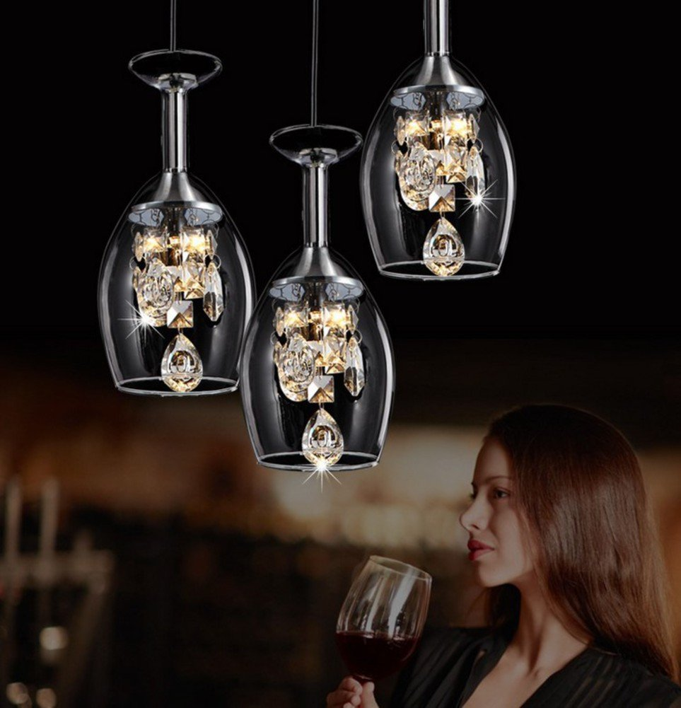 Crystal wine glass pendant chandelier led restaurant hanging