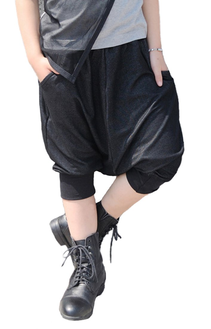YUFAN Boys Hip-Hop Drop-Crotch Baggy Pants (8, Black(Short))