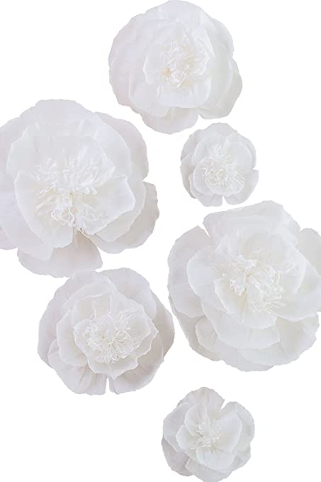 Amazon.com: Large Paper Flower Decorations White Crepe Paper Flower ...