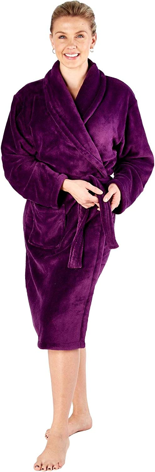 undercover lingerie Womens Soft Warm Coral Fleece Dressing Gown Robe Purple Cream or Rose