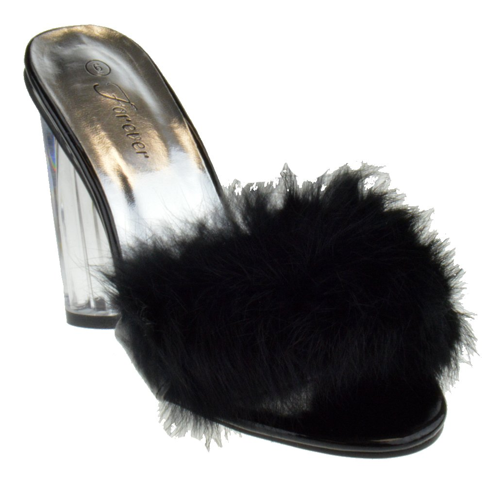 Foever Create 89 Womens Clear Chunky Heel Furry Strapped Lucite Sandals Black 6