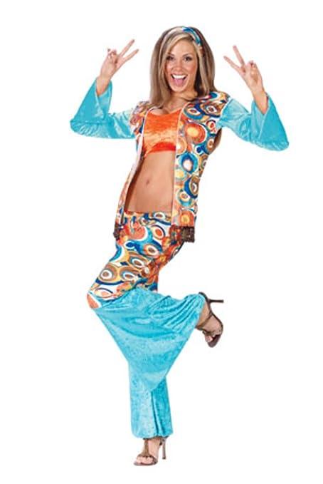 groovy hippie womens adult halloween costume size mediumlarge 10 14