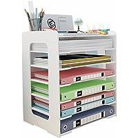 Taca na biurko z organizerem na dokumenty, 6 poziomów przegródek do przechowywania, sortownik papieru do układania w…