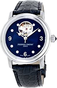 Frederique Constant Women's Ladies Stainless Steel Automatic-self-Wind Watch with Leather-Alligator Strap, Blue, 19 (Model: FC-310HBAND2P6)