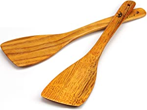 Wooden Spatula for Cooking - 12 Inch Premium Utensils Long Handled, Kitchen Spatula Set Ideal for Pan and Wok - Wood Turner, Corner Spatula, Spoons, Scraper - Made in Europe - Pack of 2