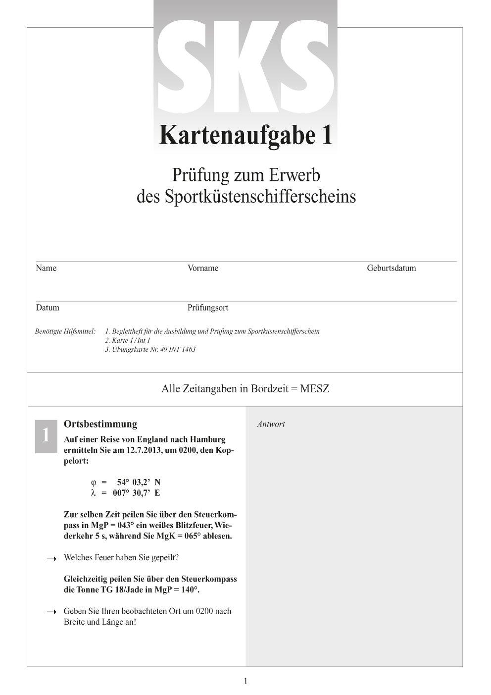 Sportküsten Schifferschein Fragebogen mit Antworten & Gezeitenaufgaben Karten