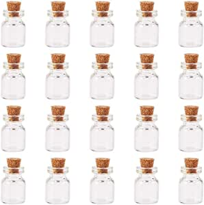 PandaHall 20 Pcs Mini Tiny Message Clear Glass Jar Wishing Bottles Vials with Cork Bead Containers Size 16x22mm