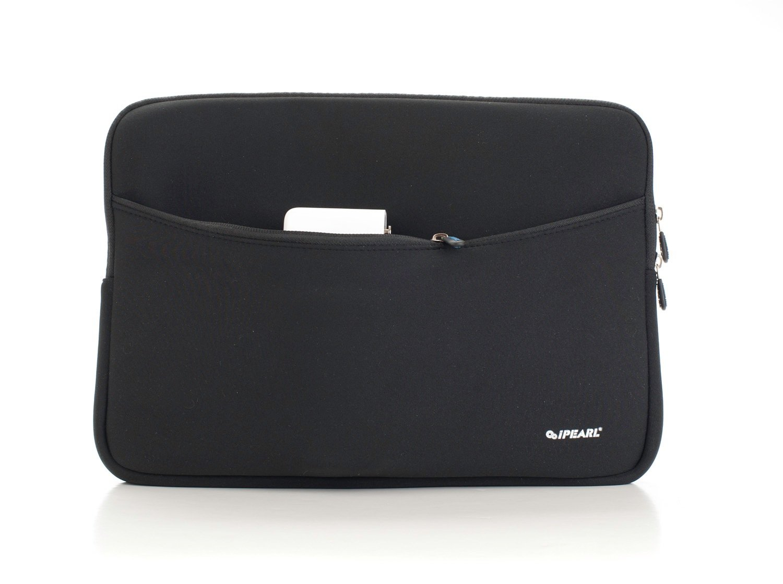 iPearl 16-inch Soft Neoprene Sleeve Case for MacBook & UltraBook laptop (built-in external pocket) (BLACK)