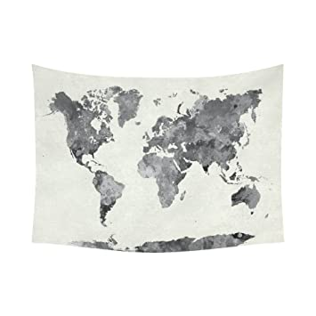 Amazon interestprint abstract splatter wall art home decor interestprint abstract splatter wall art home decor world map in watercolor painting gray tapestry wall gumiabroncs Images