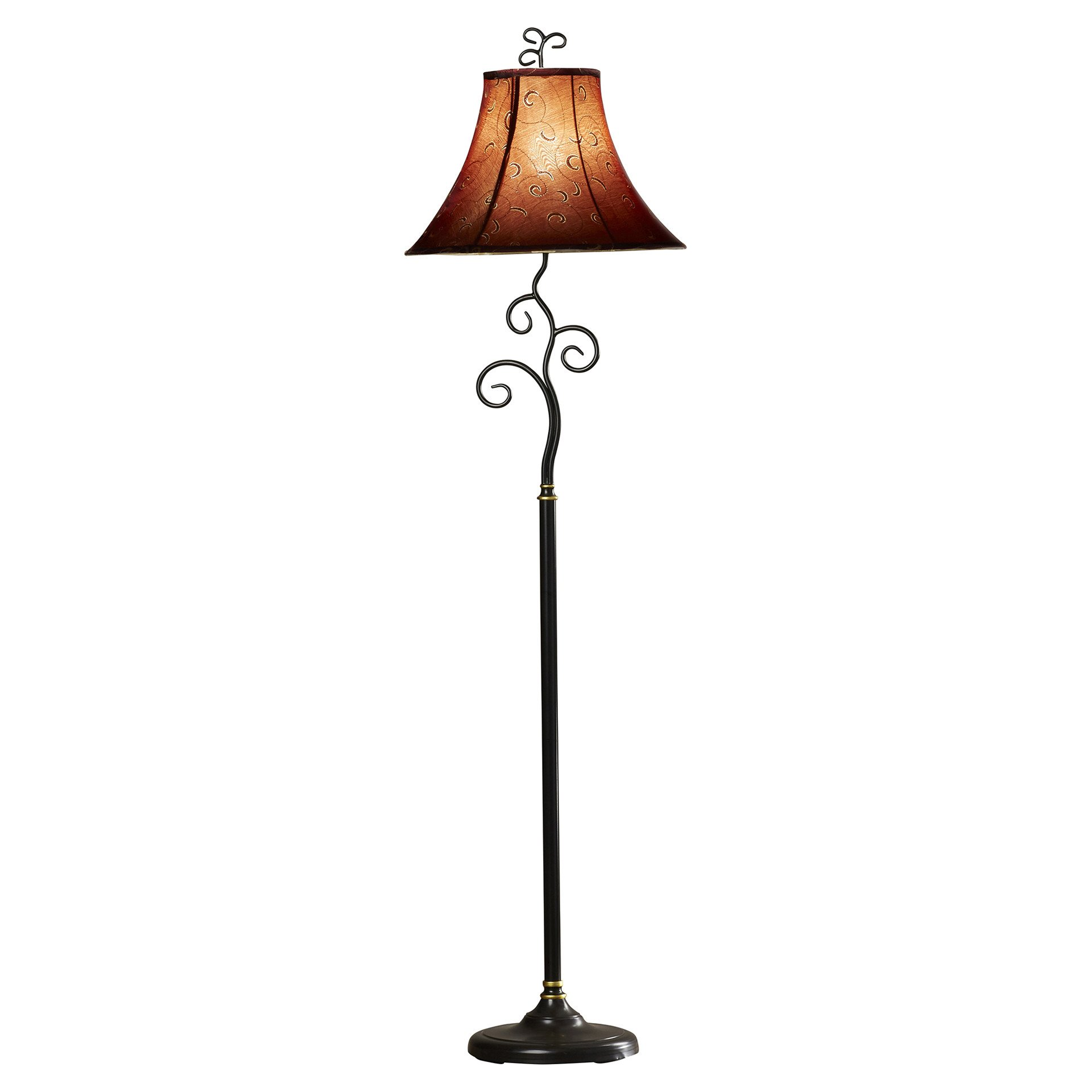 61 Inch Whimsical Bronze Finish Floor Lamp with Cranberry / Gold Thread Bell Shade For Living Room