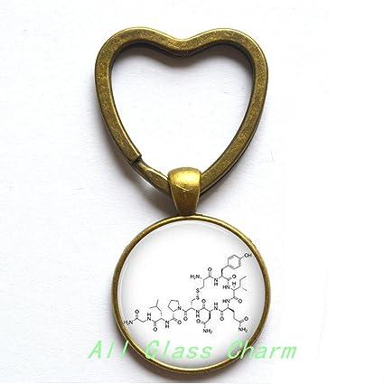 Encantador corazón llavero hormona oxitocina molécula ...