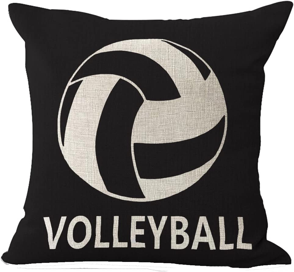 "Cotton Linen Square Decorative Throw Pillow Case Cushion Cover Retro Vintage Black Background Ball Sports Volleyball 18 ""X18 """