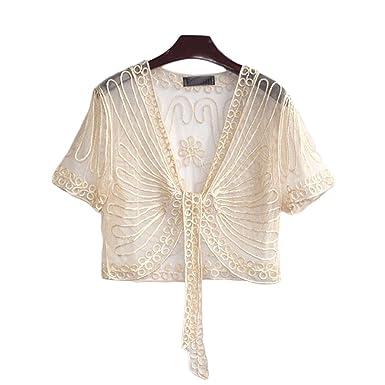 ff336dbb2a001 VERYCO Women Bolero Shrug Cardigan Jacket Short Sleeve Tie up Lace Crochet  Cover up Cropped Shrug Boleros Black  Amazon.co.uk  Clothing