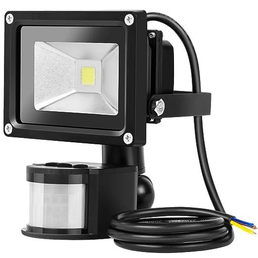 36 opinioni per Guo Faro LED con sensore di movimento, 10 W, luce bianca diurna, 6500 K 1200LM,