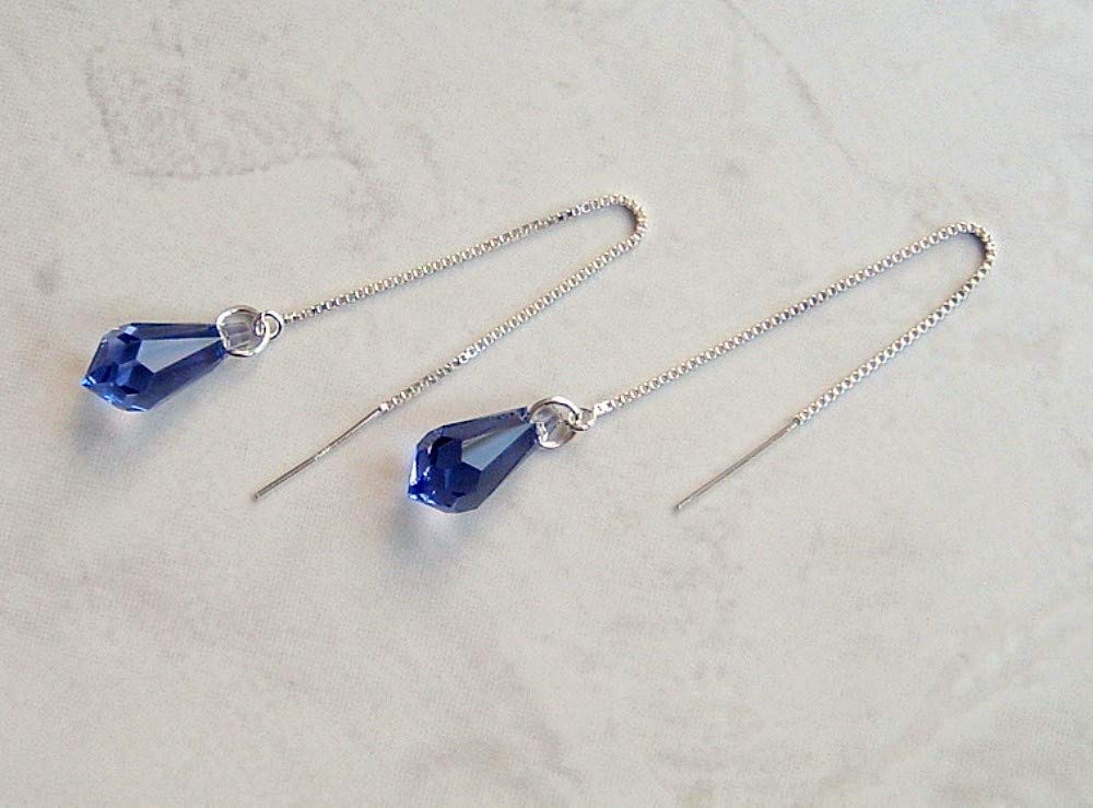 Simulated Tanzanite Pencil Briolette Crystal Ear Thread Earrings December Birthstone Gift Idea ST