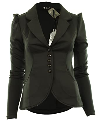 Ditzy Fashion Women's Crop Frill Shift Slim Fit Peplum Blazer ...