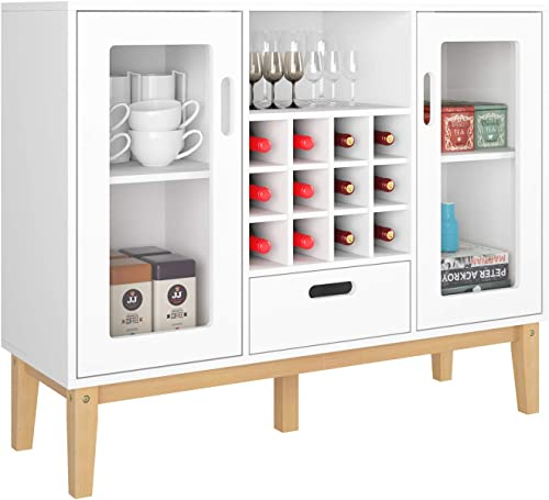 HOMECHO Wine Bar Cabinet Wood Sideboard Buffet Server with 12 Bottle Wine Display Adjustable Rack Holder for Kitchen Cupboard Dining Room Home Furniture, White