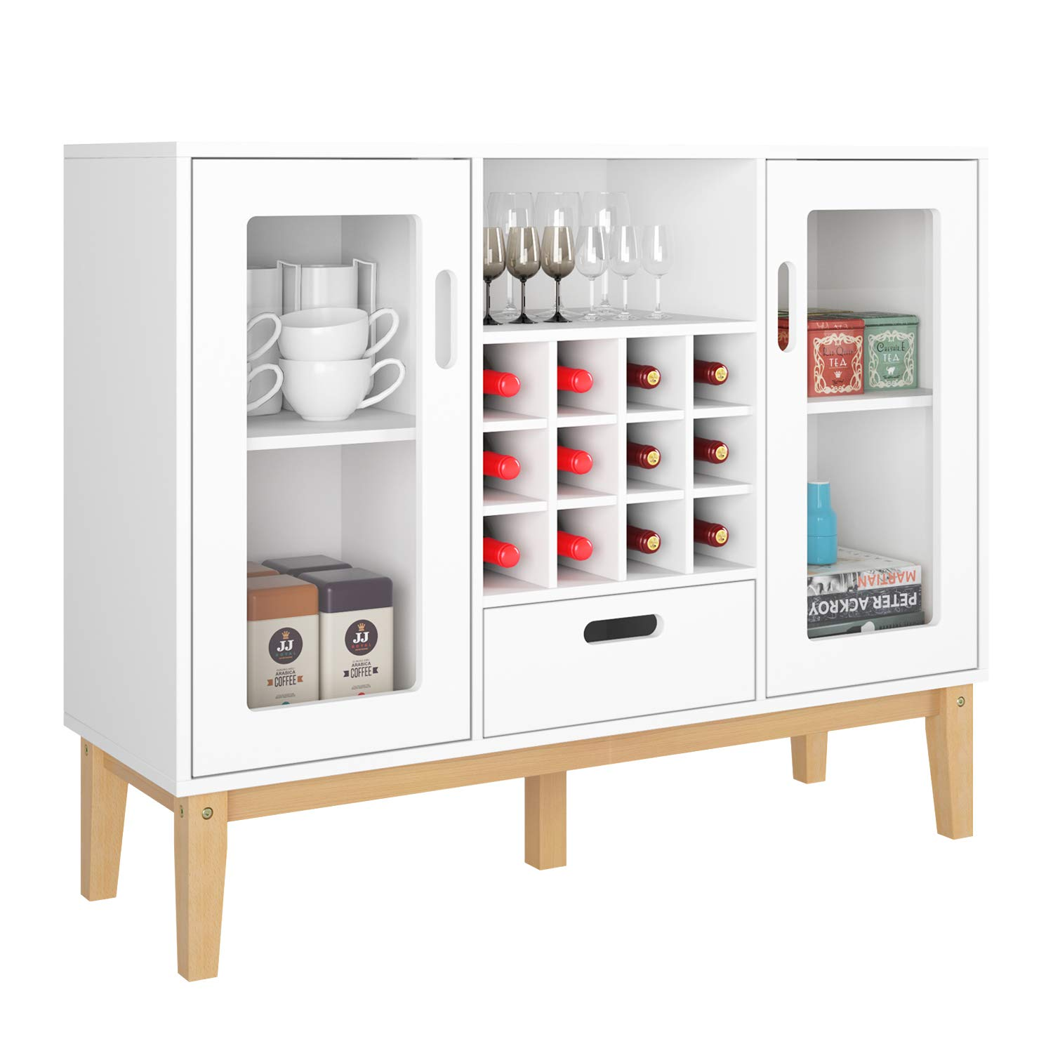 HOMECHO Bar Wine Cabinet Buffet Wood Sideboard Cupboard Table with 12 Bottles Holder Storage Rack, 1 Drawer 2 Doors Open Shelf with Solid Wood Legs, White HMC-MD-017 by HOMECHO