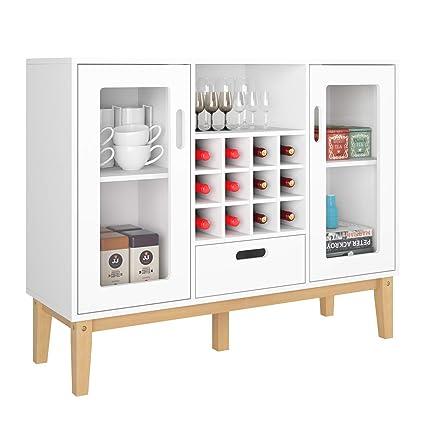 HOMECHO Bar Weinschrank Buffetschrank Weiß Sideboard mit 12 Flaschen  Weinregal Anrichte für Küche Wohnzimmer Arbeitszimmer Keller 100x80.5x33