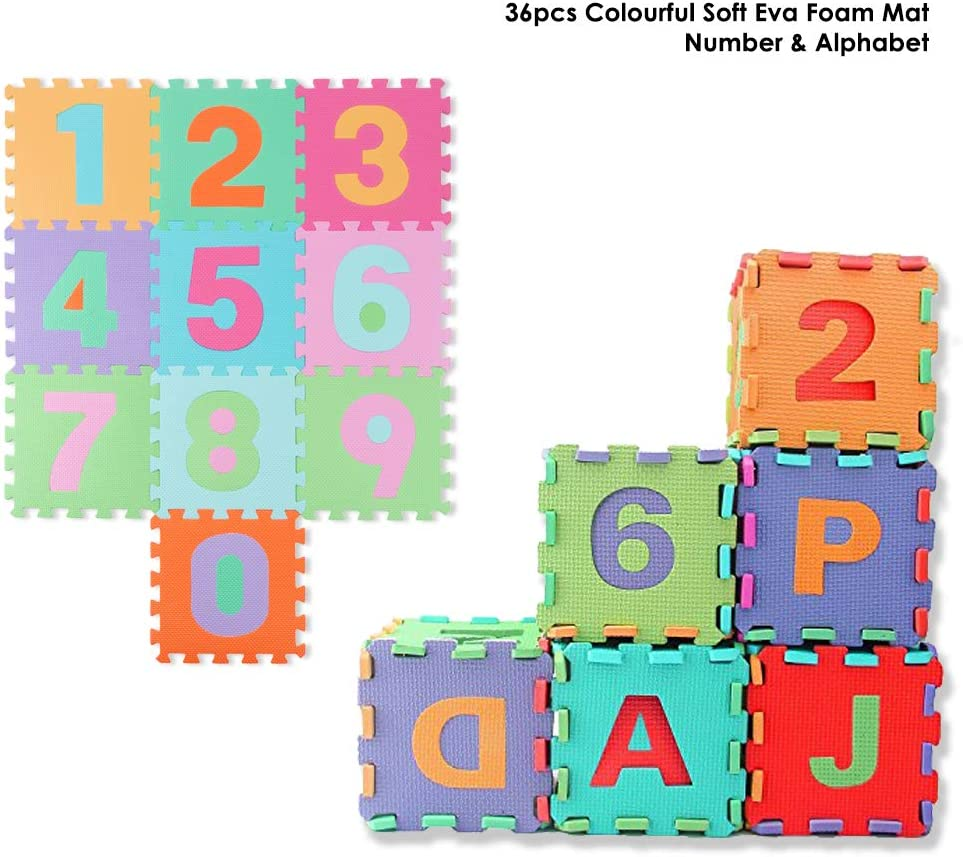 29x29cm Large Foam EVA Floor Mat Jigsaw Tiles Alphabet Numbers Kids Child Puzzle