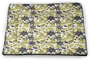 Muyindo Floral Pet Food Mat Victorian Style Clematis Flowers Berries Classical Bouquets Vintage Recycle Pet Mats Green Charcoal Grey Orange 23