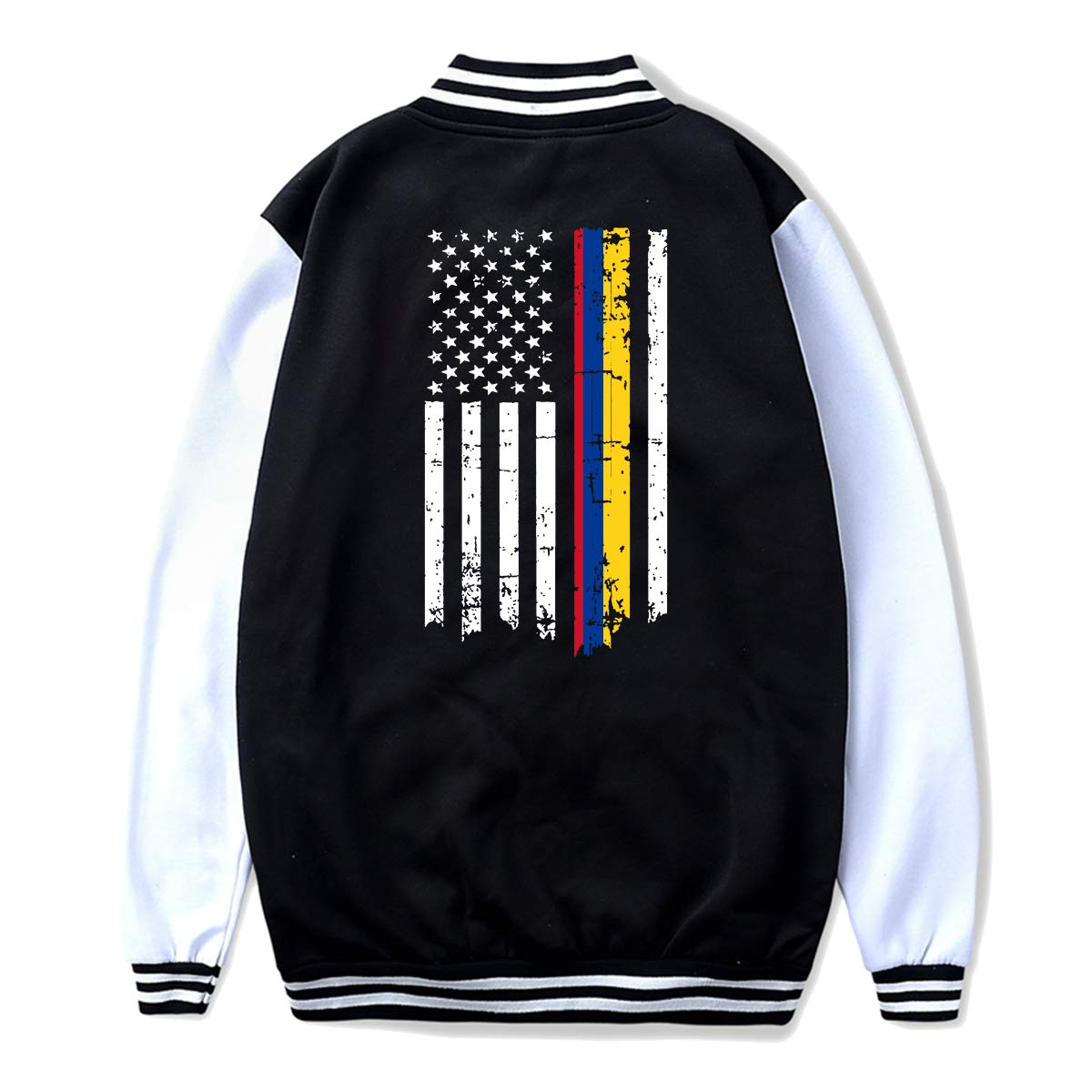 NJKM5MJ Unisex Teen Baseball Uniform Jacket Colombia Flag American Thin Line Flag Coat Sweatshirt Outwear Back Print