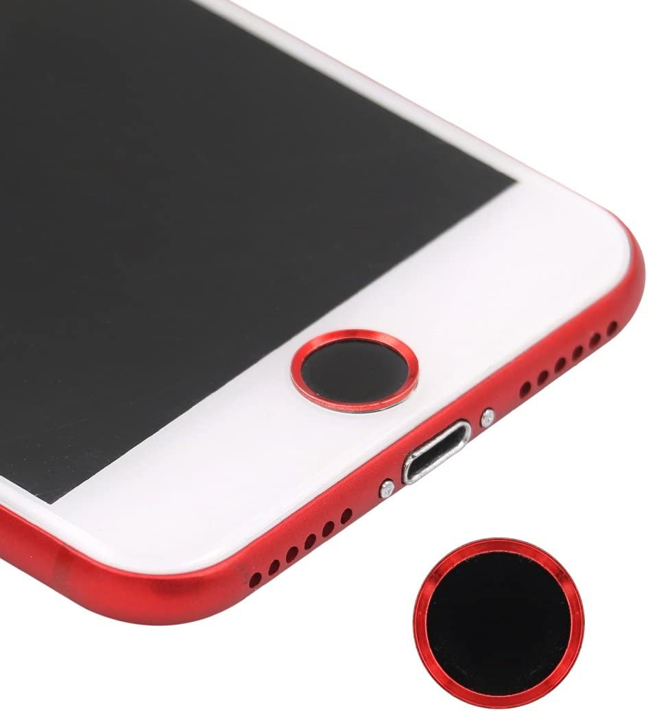 BLLQ iPhone Home Button Sticker Support Fingerprint Identification Touch ID Black Red, Black RED Home Button Sticker Compatible with iPhone 8 iPhone 8 Plus iPhone7 Plus iPhone7 Black Red