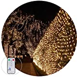 Net Fairy Light String Outdoor Light Led Mesh Tree Garden Light 3M x 2M 200Leds Remote Controll with Connectable Tail Plug for Tree-wrap Patio Yard Lawn Decor(Warm White)