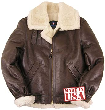 Amazon.com  Genuine Sheepskin (Shearling) B-3 Bomber Jacket Made in USA   Clothing 47b9ac75e3e