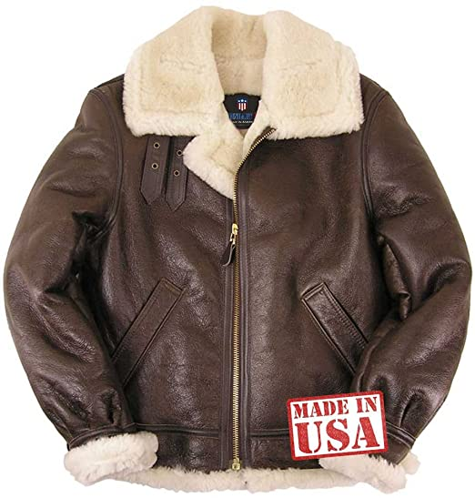 fc62ce4b8 Amazon.com: Genuine Sheepskin (Shearling) B-3 Bomber Jacket Made in ...