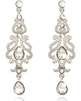 Q&Q Fashion Art Deco 20s 30s Flapper Gatsby Austria Crystal Bridal Silver Dangle Earrings