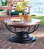 """Plow & Hearth Hammered Copper Fire Pit With Lid - Solid Copper Bowl and Metal Frame with Black Finish - 29½"""" Dia. x 24""""H"""