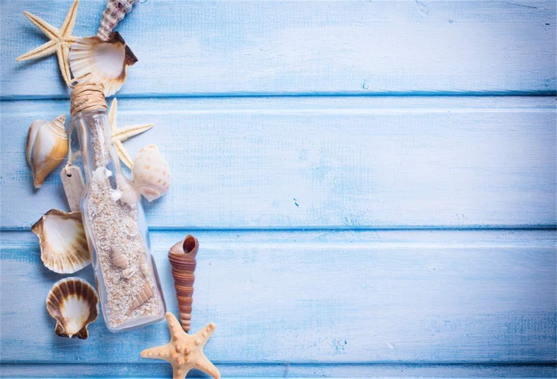 CSFOTO 8x6フィート 背景 貝殻 ドリフティングボトル ブルーウッドボード 写真 背景 ヒトデ 海 装飾 誕生日 パーティー 海 テーマ 子供 ポートレート 写真 スタジオ 小道具 ビニール 壁紙   B07GTMM484