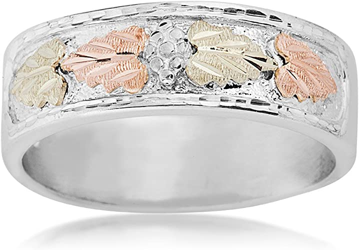 Sterling Silver Size 11 12k Green and Rose Gold Black Hills Gold Motif Mens Frosty Leaves Ring