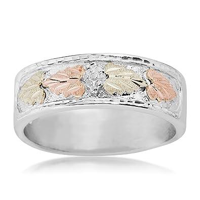 f77c1c16de6b6 Men's Diamond-Cut Wedding Band, Sterling Silver, 12k Green and Rose Gold  Black Hills Gold Motif