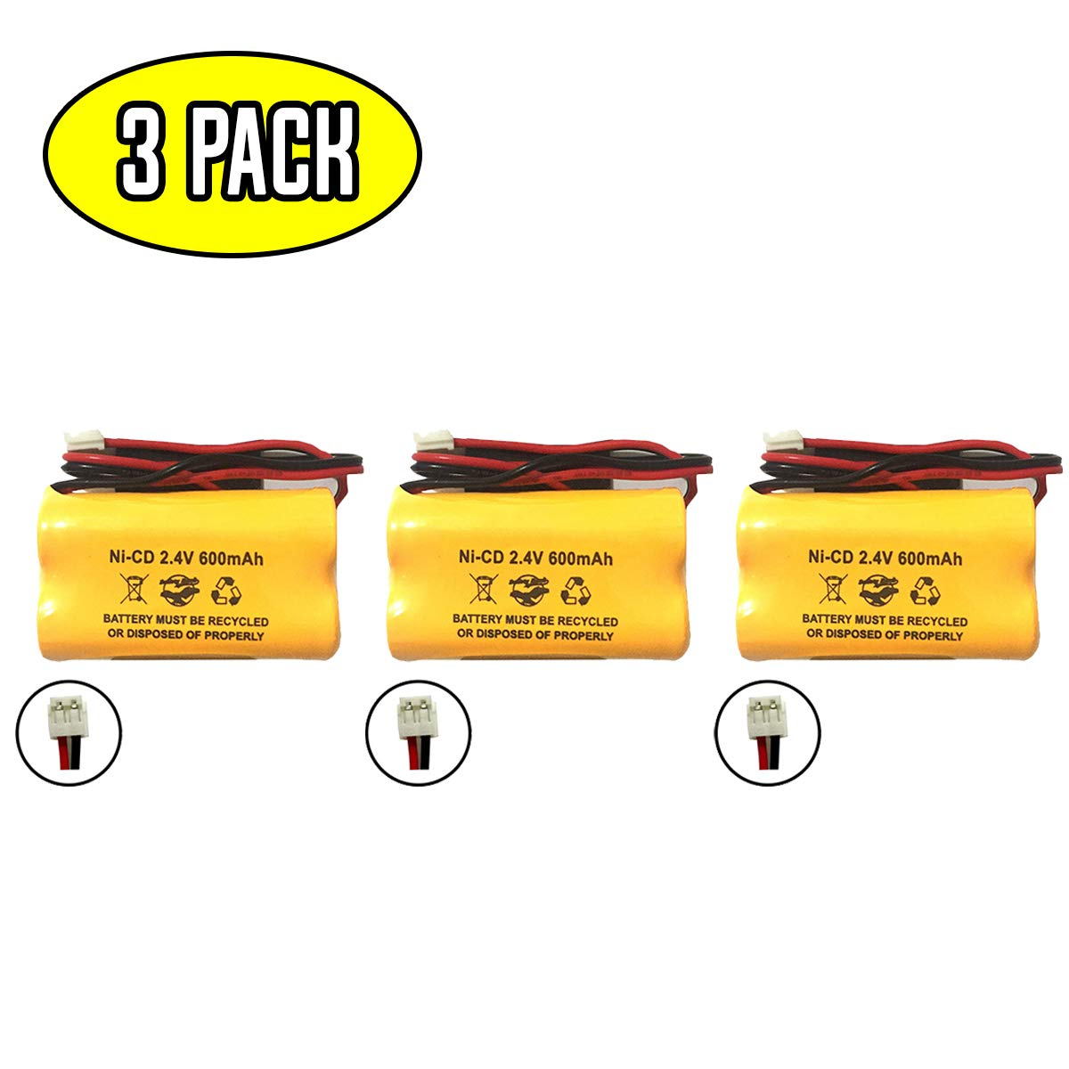 (3 Pack) BP2-A Dual-LITE Ni-CD 2.4v 600mAh CSXWREB3 HUBBEL Battery BP2A BP2-0A 0BP2-0A 2.4v 600mAh Ni-CD Battery Pack Replacement for Exit Sign Emergency Light