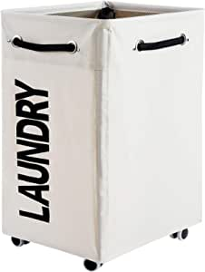 Haundry 86L X-Large Collapsible Laundry Hamper with Wheels, Waterproof Rolling Clothes Hamper Basket Bin for Dirty Clothes Storage