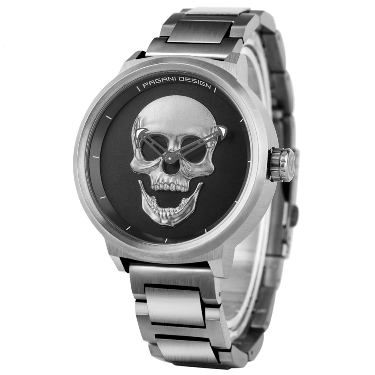 Amazon.com: PAGANI DESIGN Mens 30M Water Resistant Watch 3D Skull Dial Design Stainless Steel Quartz Wristwatch: Watches